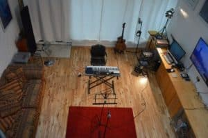 overhead view of vocal coach studio for singing lessons london prices